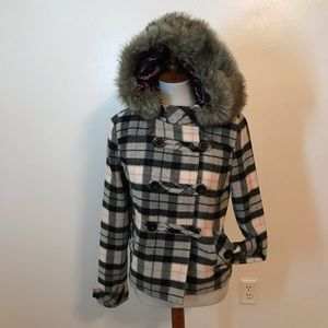PINK Victoria's Secret Plaid Jacket with Hood